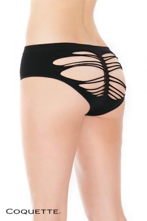 Culotte Noire Ouverte sur les Fesses pour Travesti - Une culotte noire provocante, ouverte sur vos fesses grâce à de fines lanières et fermée à l'avant. Pour lui donner envie de vous !