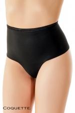 String Culotte Taille Haute Noir Opaque pour Travesti - String noir opaque, taille haute, qui cache votre sexe et affine la silhouette. Parfait pour travesti qui veut se féminiser.