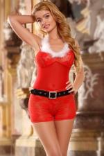 Déguisement mère Noel combishort : Déguisement sexy de mère Noel avec combishort en dentelle rouge, marque Paris Hollywood.