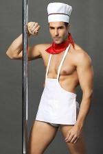 Costume Sexy de Cuisinier Gay - Déguisement sexy de cuisinier gay, incarné un maître queue avec un tour de cou, une toque, un slip et un tablier ! Envie de passer votre mec à la casserole ou de vous faire cuisiner aux petits oignons ?