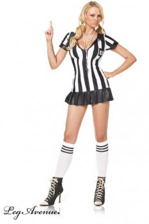 Costume d'Arbitre Travesti Sexy - Costume d'arbitre féminin très sexy avec robe à zip ventral, sifflet, et chaussettes assorties.