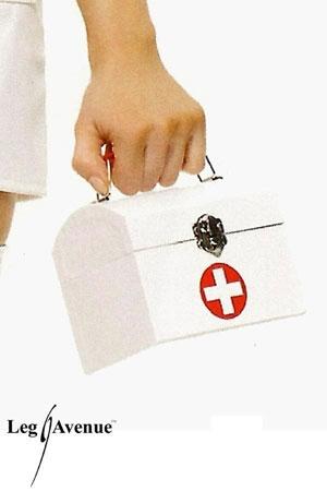 Sac à main Infirmière Travesti - Sac à main rigide pour infirmière travestie coquine, en forme de coffret et décoré d'une croix premier secours.