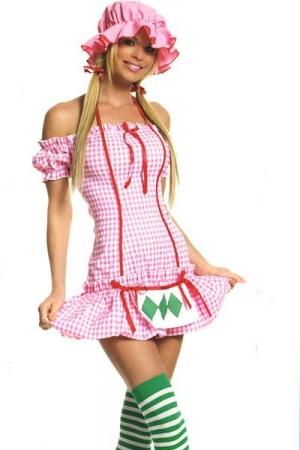 Costume Travesti Strawberry Girl - Costume de Charlotte aux Fraises sexy : bonnet, robe et bas à rayures.