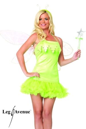 Costume Elfe Travesti - Costume d'Elfe travesti composé d'un serre tête, une baguette magique et une robe courte et coquine à jupon