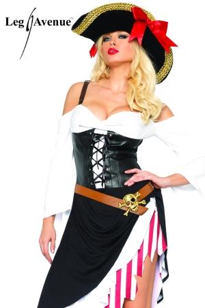 Costume Travesti Pirate Sexy - Avec ce costume de pirate travesti, transformez vous en une redoutable femme corsaire des mers !