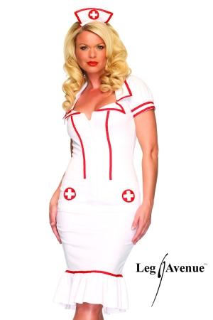 Costume Infirmière Travesti Miss Diagnosis - Robe d'infirmière cintrée pour travesti avec sa coiffe assortie : transformez vous en une infirmière sexy des 50's.