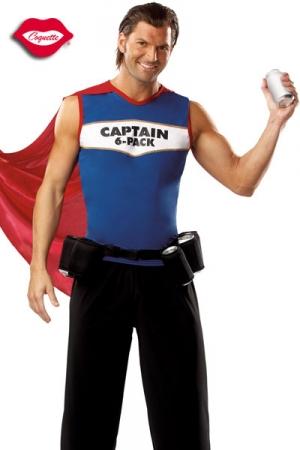 Costume Capitaine Canettes - Capitaine Canettes est le super héros du quotidien ! Sa mission ? Étanchez votre soif ! Son arme : sa ceinture porte canette fraîche !