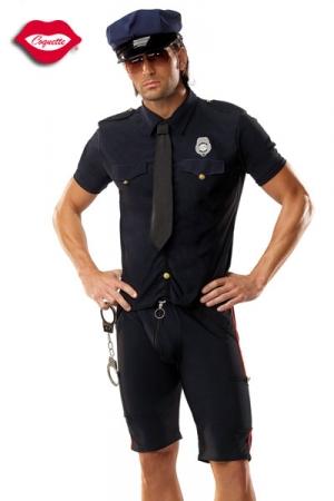 Costume Policier Gay - Un costume de policier gay idéal pour vos jeux de rôles : cravate, chemise avec écusson Police, short, casquette et paire de menottes. Attrapez le & faites le avouer par tous les moyens !