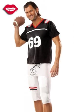 Costume Footballeur Américain 69 - Un costume de footballeur américain, floqué du célèbre numéro 69 : short moulant, maillot et protection, faites un touchdown et marquez l'essai !