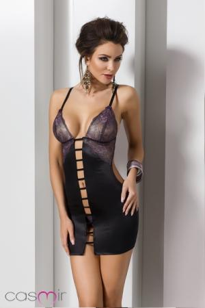 Robe Lingerie Ouverte pour Travesti Fiero - Robe lingerie noir ouverte et string dentelle noire pour travesti qui laisse voir vos fesse, votre dos et votre ventre.