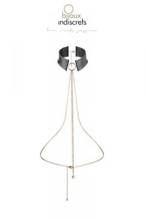 Collier Métallique Noir pour Travesti - Collier et chaine métalliques noirs pour travesti : un bijou réglable qui vous rend femme et très attirante, fabriqué sans nickel