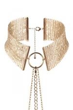 Collier Métallique Doré pour Travesti - Bijoux Indiscrets fabrique ce collier pour travesti avec sa chaine de taille, un bijou doré très chic fabriqué en mailles métalliques couleur or