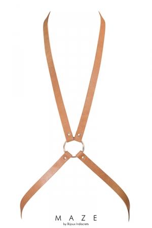 Harnais 8 en Faux Cuir Marron pour Sissy - Harnais SM pour sissy en forme de 8, fabriqué dans un faux cuir marron végan. Réglable à la taille. A porter sur votre tenue de travestie ou nu. Féminise et met votre poitrine en avant.