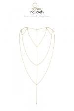 Chaine Dorée pour Travesti Dos et Décolleté  - Avec cette chaine dorée pour travesti, soulignez dos et décolleté  un bijou érotique pour être toujours plus femme et sensuelle. Excitez les hétéros avec la chaine centrale qui pend vers votre décolleté ou vos fesses.