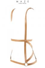 Harnais Marron en Forme de Robe pour Sissy SM - Harnais marron pour sissy SM en forme de robe, réalisé en faux cuir. Ce harnais pour bondage est végan et fabriqué par Bijoux Indiscrets. Il est réglable pour mouler vos formes et vous féminiser.