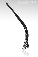 Fouet cuir Thong Whip - Fouet en cuir 12 lanières, manche équipé d'un anneau métal.