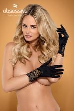 Gants Sexy Elastique pour Travesti Obsessive - Gants noirs élastiques, sensuels et sexy pour travesti ! Fabriqué par Obsessive, ces gants Moketta recouvrent vos mains en douceur, la dentelle résille couvre vos poignets.