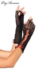 Mitaines Demi Doigts en Résille pour Travestie - Mitaines demi-doigts pour travestie fabriquée en résille noire et fermée par un lacet de satin rouge. Fabriquées par Leg Avenue, ces mitaines courtes pour sissy cachent vos mains et une partie de vos avant-bras.