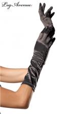Gants Longs en Satin Noir pour Sissy - Gants longs en satin noir aux reflets satinés élégant pour une sissy très féminine. Le satin est extensible. Ces gants couvrent l'avant bras, les mains et permettent une féminisation plus facile.