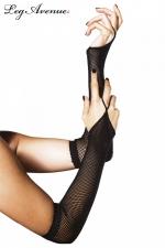Gants 1 Doigt en Résille - Complétez vos tenues en résille avec ces gants 1 doigt en résille, de couleur rose fluo, blanche, ou noire
