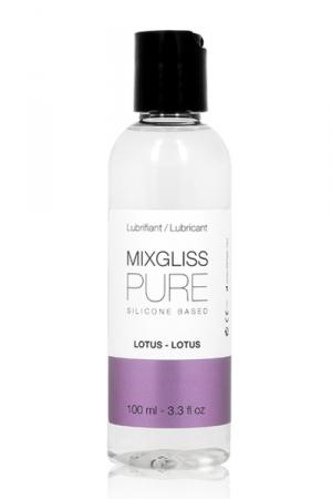 Lubrifiant Silicone au Lotus Mixgliss 100 ml - Lubrifiant et gel de massage en silicone aromatisé au lotus fabriqué en France par Mixgliss. Flacon de 100 ml