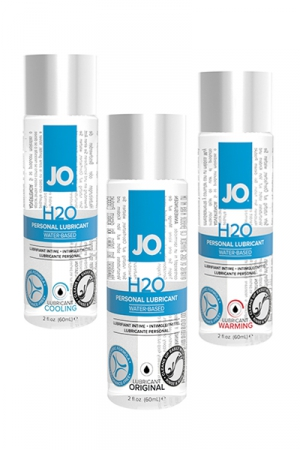 Lubrifiant Gay Jo H2O 60 ml - Lubrifiant à base d'eau classique, rafraichissant ou chauffant fabriqué aux États-Unis par System Jo : il contient une glycérine végétale pure et peut s'utiliser avec les jouets sexuels et les capotes. Sans goût ni odeur