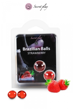 2 Boules Brésiliennes Lubrifiantes Parfum Fraise Secret Play