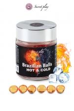 6 Boules Brésiliennes Lubrifiantes Effet Chaud Froid : 6 boules brésiliennes lubrifiantes effet chaud froid qui se fondent en un lubrifiant qui rafraichit votre anus puis le réchauffe ou inversement selon les personnes. Pour vous chauffer lors des préliminaires gays. Fabriquées par Secret Play