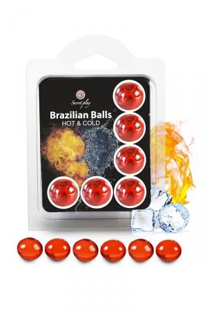 6 Boules Brésiliennes Lubrifiantes Effet Chaud Froid Secret Play