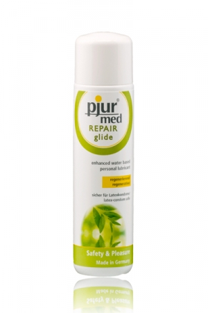 Lubrifiant Pjur Med Repair Glide - Le gel lubrifiant intime naturel haute qualité de 100 mL à base d'eau et de composants naturels qui prend soin de votre intimité. Compatible avec les préservatifs en latex, sans odeur ni goût.