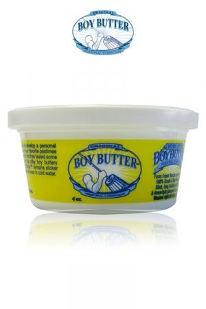 Lubrifiant Boy Butter 120 ml en pot - Lubrifiant pour fist et dilatation extrême à base d'huile végétale et de silicone. Pot de crème Boy Butter original 120 ml, nettoyage facile, hypoallergénique, très glissant, incompatible avec les capotes.