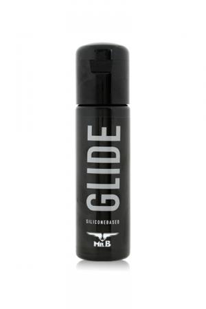 Mister B Glide 100 ml Lubrifiant Silicone - Lubrifiant polyvalent à base de silicone, Mister B Glide sert pour la sodomie, le massage, la lubrification du derme. Compatible avec les capotes et les sextoys, il ne colle pas et glisse longtemps.