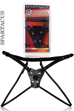 Gode ceinture Double Strap - Gr�ce � ses 2 sangles de cuisses , le port de ce gode ceinture en cuir laisse votre intimit� accessible.