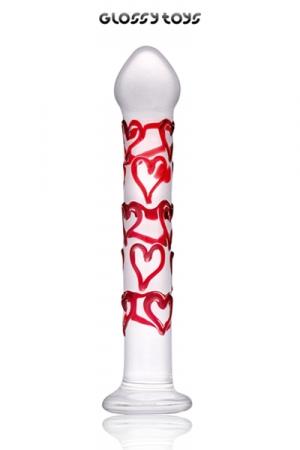 Dong Glossy Pure Love - Un gode en verre sécurisé de 18,5 cm avec une forte résistance : chaud ou froid, ce sextoy design va vous allumer avec sa tête en forme de flamme ! Allumez le feu.