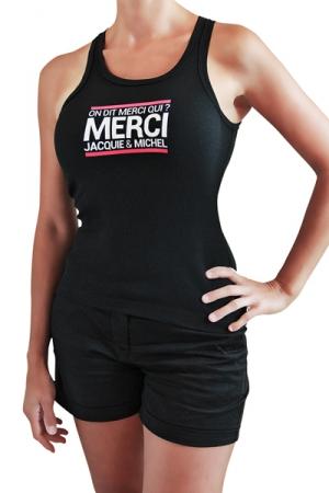 Débardeur Femme Jacquie et Michel - Débardeur femme, noir, classique J&M affichant le célèbre slogan: On dit merci qui?