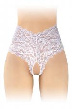 Culotte Ouverte Tanga Taille Haute Blanche pour Sissy - Taille haute et blanche, cette culotte tanga ouverte pour sissy chaude est faite dans une fine dentelle confortable et douce. Son laçage au creux des reins et sa coupe échancrée excitent les mâles alphas.