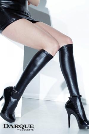Mi-Bas pour Travesti en Wetlook Darque - Mi-bas ou chaussettes hautes pour travesti en wetlook ? Disponible en grande taille jusqu'au 3XL, ils moulent votre mollet.