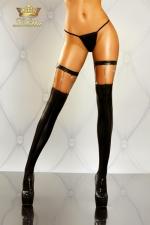 Bas Wetlook Bijou pour Travesti Lolitta Chain - Bas en wetlook noir avec des chaines argent chromé et une jarretière ajustable en faux cuir pour mettre vos jambes en avant. Une vraie lingerie bijou.