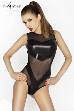 Body Couvrant et Sexy pour Travesti - Ce body en résille pour travesti possède des empiècements en wetlook qui cachent votre sexe et votre fausse poitrine. Sa coupe en résille transparente cache vos épaules et la base de votre cou.