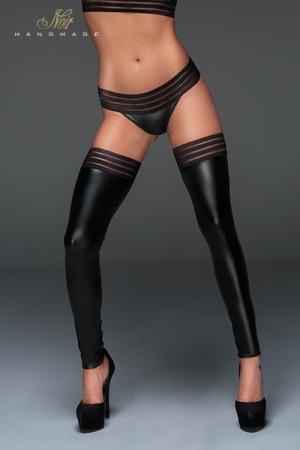 Jambières Wetlook Noir Handmade - Ces jambières sexy et gainantes pour travesti et sissy sont fabriquées en wetlook. Un élastique à bande large fait office de jarretière. Ces jambières vous rendent féminines et allongent vos jambes. Disponible en grande taille.