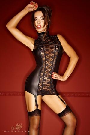 Gu�pi�re Bad Lupa - Une gu�pi�re somptueuse en dentelle et wetlook mat, qui vous sculpte �troitement gr�ce � ses tiges corset.