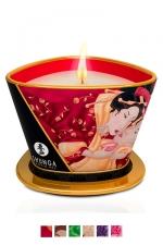 Bougie de massage Shunga (170 ml) : Ce produit unique sert à la fois de chandelle pour créer une ambiance parfumée ainsi qu'une huile à massage.