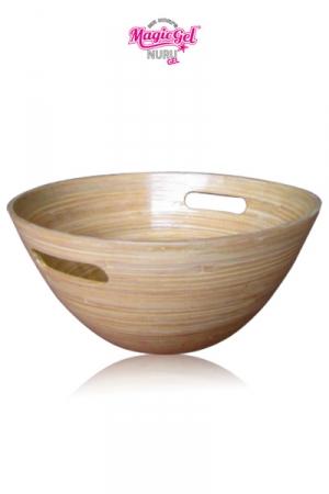 Bol Bambou Nuru - Ce bol en bambou est spécialement conçu pour accueillir et mélanger votre gel Nuru favori avec de l'eau. Diamètre large, 2 anses pour le déplacer, forme adaptée au gel Nuru.