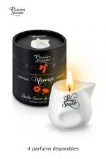 Bougie de Massage aux Odeurs de Plante Plaisirs Secrets - Bougie de massage sensuelle parfumée aux arômes de plantes avec 4 odeurs au choix, thé blanc, bois rouge, ylang/patchouli ou coquelicot. Bougie pour massage fabriquée en France par Plaisirs Secrets