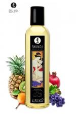 Huile de Massage Excitante aux Fruits Exotiques Shunga Libido - Huile de massage excitante Shunga Libido parfumée aux fruits exotiques pour exciter, détendre et partager un moment intime. Composée d'huiles pressées à froid, noyaux de raisins, carthame, ylang-ylang, avocat, yohimbé, amandes, sésame.