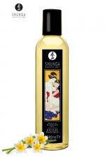 Huile de Massage Erotique au Monoï Shunga Serenity - Huile de massage érotique Shunga Serenity parfumée au monoï pour exciter vos sens et masser en douceur. Composée d'huiles pressées à froid, amandes, noyaux de raisins, sésame, avocat, carthame, ylang-ylang, yohimbé