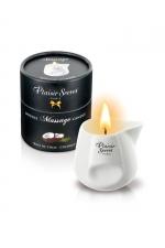 Bougie de Massage Coco Plaisir Secret : Bougie de massage crapuleuse parfum noix de coco, à base d'ingrédients naturels. Produite en France par Plaisir Secret. Léchez et embrassez sa cire tiède et onctueuse pour un massage gay bandant