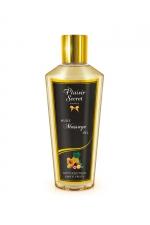 Huile de Massage Sèche Fruits Exotiques - Huile de massage sèche d'origine végétale aux fruits exotiques. Fabriquée en France, cette huile sans sensation de gras adoucit et hydrate la peau. Elle pénètre vite pour un massage érotique ou décontractant.