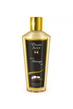 Huile de Massage Sèche Noix de Coco : Huile de massage sèche d'origine végétale à la noix de coco. Fabriquée en France, cette huile sans sensation de gras adoucit et hydrate la peau. Elle pénètre vite pour un massage érotique ou décontractant.