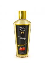 Huile de Massage Sèche Fraise : Huile de massage sèche d'origine végétale parfumée à la fraise pour un massage relaxant ou érotique. Cette huile hydrate, adoucit la peau et laisse une odeur gourmande. Elle pénètre rapidement.